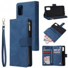 For Samsung A41 Mobile Phone Case Wallet Design Zipper Closure Overall Protection Cellphone Cover  2 blue