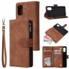 For Samsung A41 Mobile Phone Case Wallet Design Zipper Closure Overall Protection Cellphone Cover  4 brown