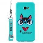 For Samsung A5 2017 Cartoon Lovely Coloured Painted Soft TPU Back Cover Non-slip Shockproof Full Protective Case with Lanyard Light blue