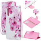 For Samsung A50/A70 Smartphone Case Overall Protective Phone Shell Lovely PU Leather Cellphone Cover with Card Slots  peach blossom