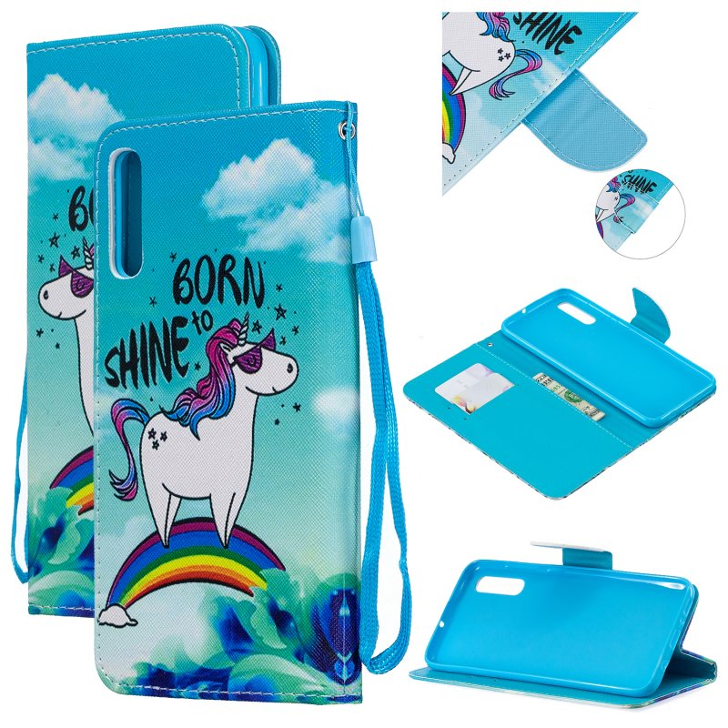 For Samsung A50/A70 Smartphone Case Overall Protective Phone Shell Lovely PU Leather Cellphone Cover with Card Slots  Rainbow horse