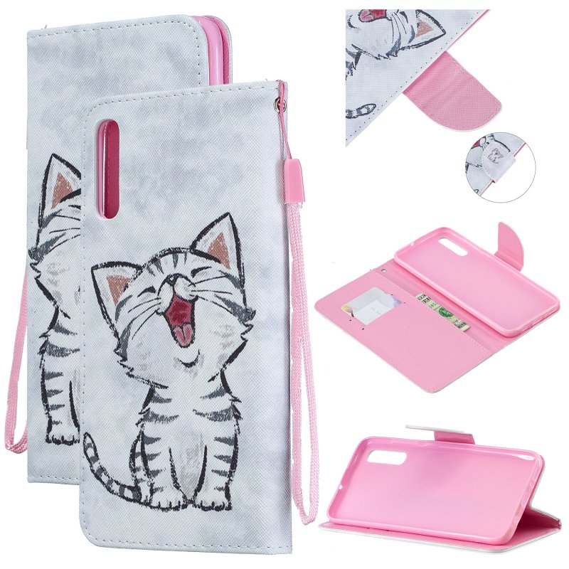 For Samsung A50/A70 Smartphone Case Overall Protective Phone Shell Lovely PU Leather Cellphone Cover with Card Slots  Red lip cat