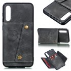 For Samsung A50 Double Buckle Non-slip Shockproof Cell Phone Case with Card Slot Bracket gray