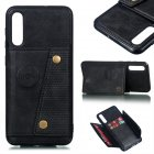 For Samsung A50 Double Buckle Non-slip Shockproof Cell Phone Case with Card Slot Bracket black