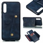 For Samsung A50 Double Buckle Non-slip Shockproof Cell Phone Case with Card Slot Bracket blue