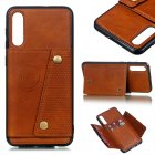 For Samsung A50 Double Buckle Non-slip Shockproof Cell Phone Case with Card Slot Bracket Light Brown