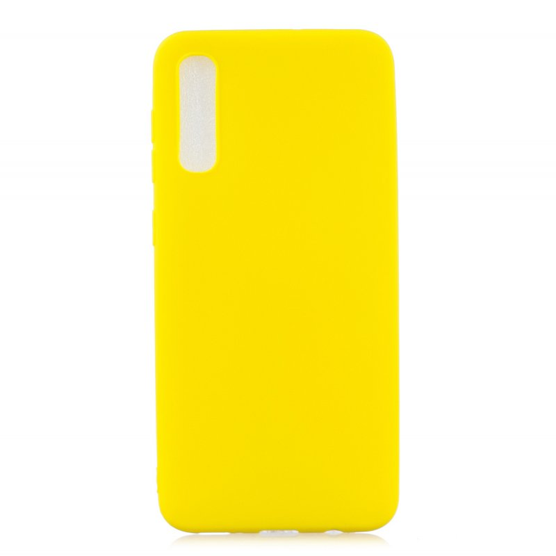 For Samsung A50 Lovely Candy Color Matte TPU Anti-scratch Non-slip Protective Cover Back Case yellow
