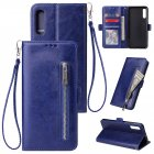 For Samsung A50 Solid Color PU Leather Zipper Wallet Double Buckle Protective Case with Stand & Lanyard blue