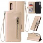 For Samsung A50 Solid Color PU Leather Zipper Wallet Double Buckle Protective Case with Stand & Lanyard gold