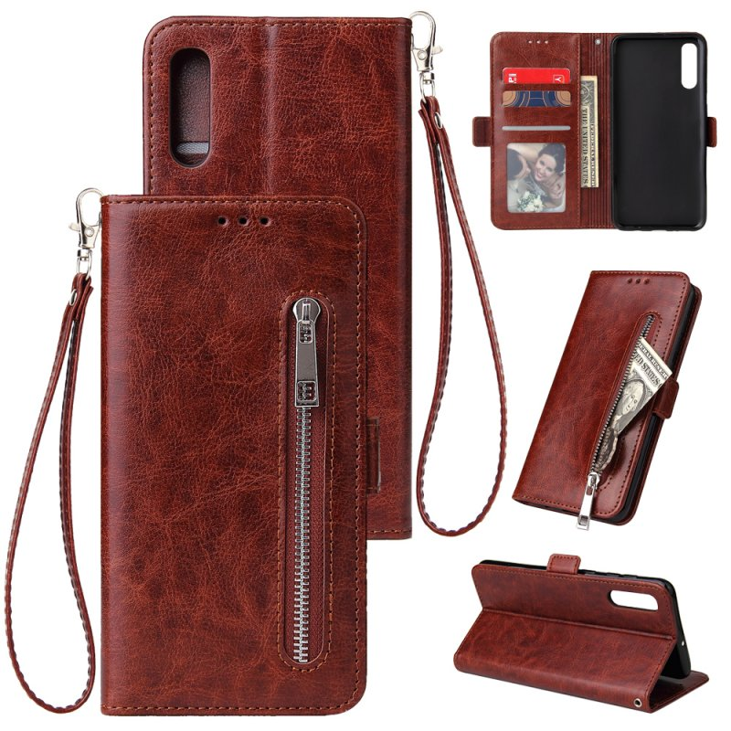 For Samsung A50 Solid Color PU Leather Zipper Wallet Double Buckle Protective Case with Stand & Lanyard brown