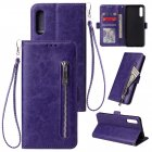 For Samsung A50 Solid Color PU Leather Zipper Wallet Double Buckle Protective Case with Stand & Lanyard purple