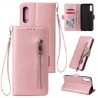 For Samsung A50 Solid Color PU Leather Zipper Wallet Double Buckle Protective Case with Stand & Lanyard Rose gold