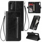 For Samsung A50 Solid Color PU Leather Zipper Wallet Double Buckle Protective Case with Stand   Lanyard black