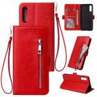 For Samsung A50 Solid Color PU Leather Zipper Wallet Double Buckle Protective Case with Stand & Lanyard red