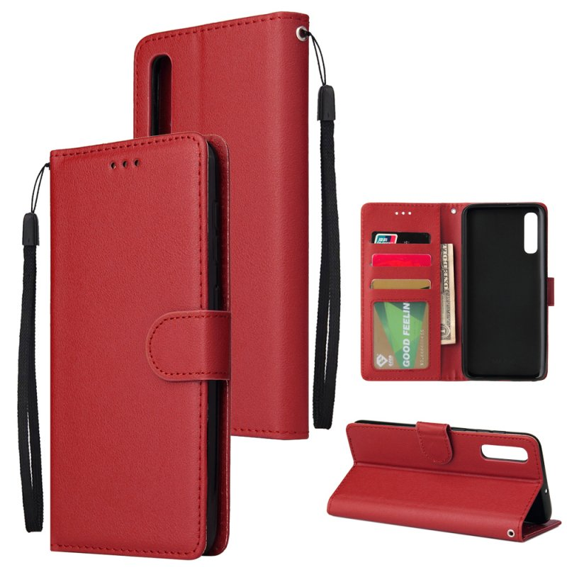 For Samsung A50 Wallet-type PU Leather Protective Phone Case with Buckle & 3 Card Position red