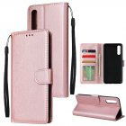 For Samsung A50 Wallet type PU Leather Protective Phone Case with Buckle   3 Card Position Rose gold