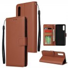For Samsung A50 Wallet-type PU Leather Protective Phone Case with Buckle & 3 Card Position brown