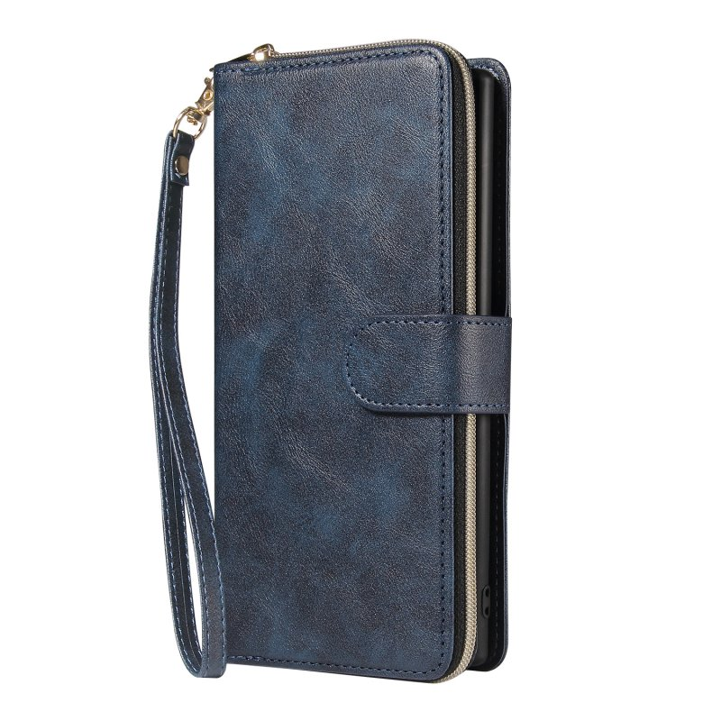 For Samsung A51 5G/A71 5G/Note 10 pro Pu Leather  Mobile Phone Cover Zipper Card Bag + Wrist Strap blue