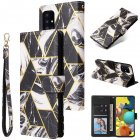 For Samsung A51 5g Mobile Phone Cover Inlay Gold Line Marble Pattern Flip Phone Leather Case black