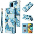 For Samsung A51 5g Mobile Phone Cover Inlay Gold Line Marble Pattern Flip Phone Leather Case blue