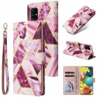 For Samsung A51 5g Mobile Phone Cover Inlay Gold Line Marble Pattern Flip Phone Leather Case purple