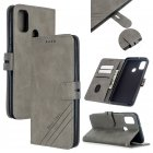 For Samsung A51/A71/M30S Case Soft Leather Cover with Denim Texture Precise Cutouts Wallet Design Buckle Closure Smartphone Shell  gray