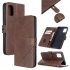 For Samsung A51 A71 M30S Case Soft Leather Cover with Denim Texture Precise Cutouts Wallet Design Buckle Closure Smartphone Shell  brown