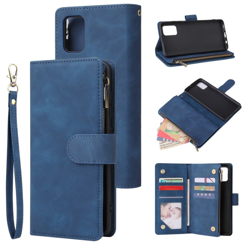 For Samsung A51 Case Smartphone Shell Precise Cutouts Zipper Closure Wallet Design Overall Protection Phone Cover  Blue