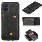 For Samsung A51 Cellphone Cover Back Case Double Buckle PU Leather with Card Slots Shell black