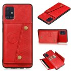 For Samsung A51 Cellphone Cover Back Case Double Buckle PU Leather with Card Slots Shell red