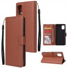 For Samsung A51 Phone Case PU Leather Shell All-round Protection Precise Cutout Wallet Design Cellphone Cover  Brown
