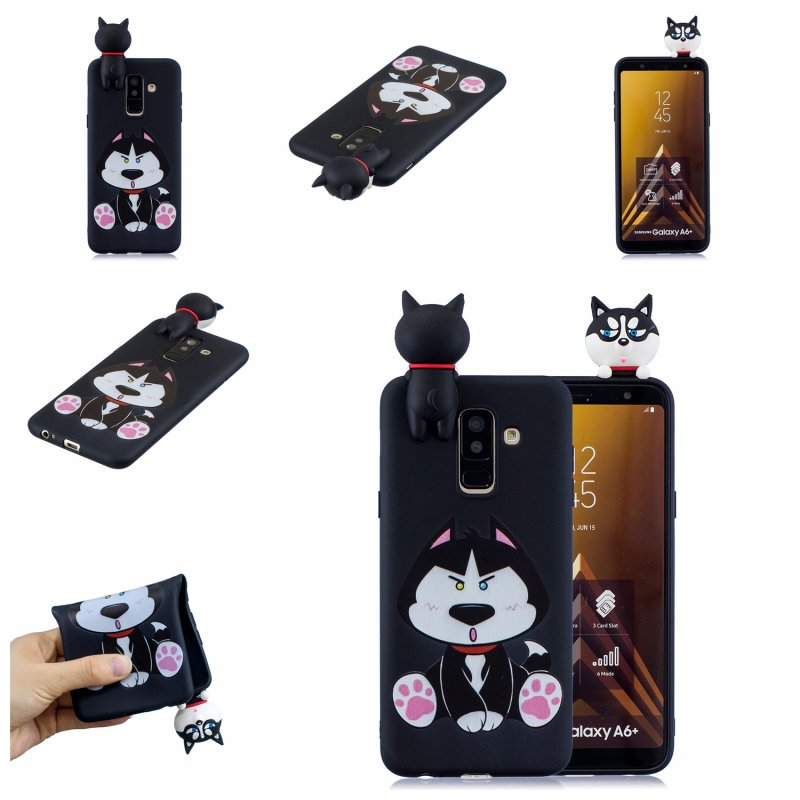 For Samsung A6 plus 2018 3D Cartoon Lovely Coloured Painted Soft TPU Back Cover Non-slip Shockproof Full Protective Case cute husky