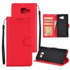 For Samsung A7 2017/A720 PU Leather Cell Phone Case Protective Cover Shell with Buckle red