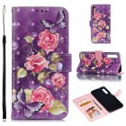 For Samsung A7 2018 3D Coloured Painted Leather Protective Phone Case with Button & Card Position & Lanyard purple flower