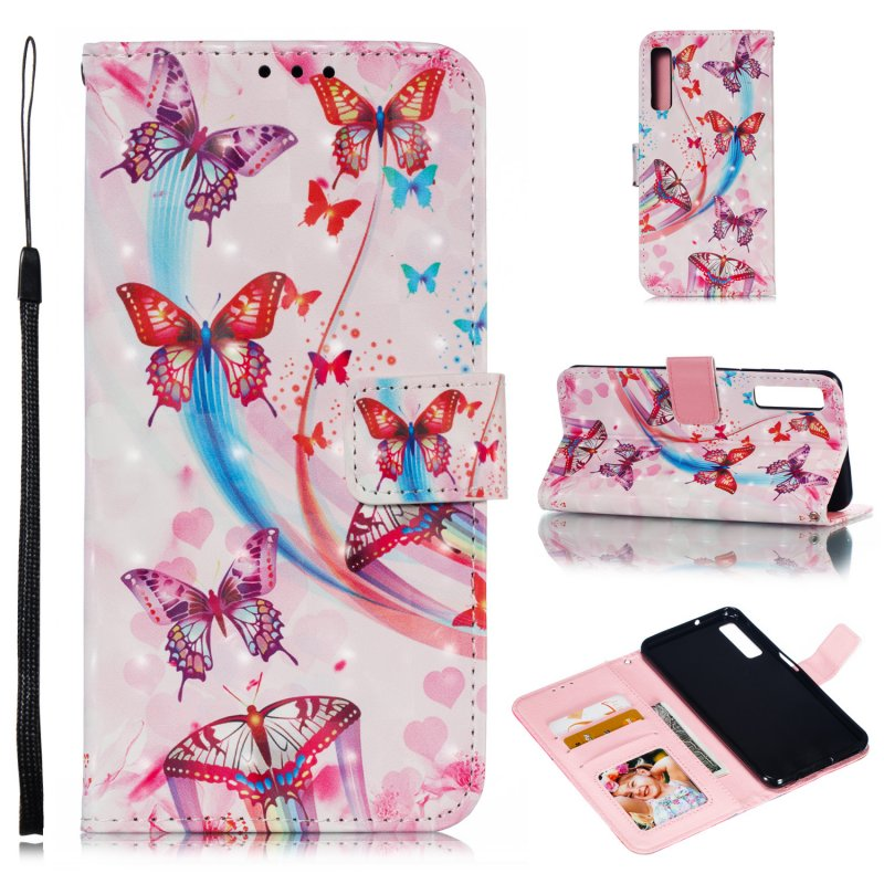 For Samsung A7 2018 3D Coloured Painted Leather Protective Phone Case with Button & Card Position & Lanyard Butterfly flying