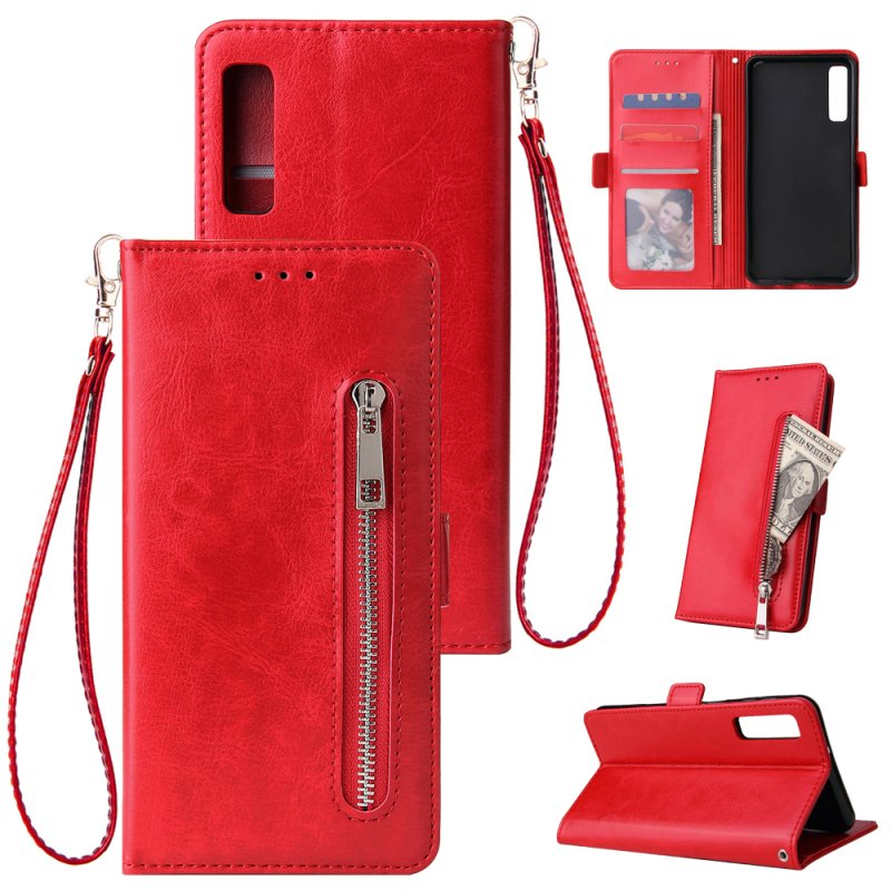 For Samsung A7 2018-A750 Solid Color PU Leather Zipper Wallet Double Buckle Protective Case with Stand & Lanyard red
