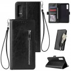 For Samsung A7 2018-A750 Solid Color PU Leather Zipper Wallet Double Buckle Protective Case with Stand & Lanyard black