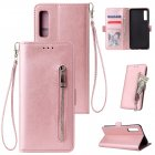 For Samsung A7 2018-A750 Solid Color PU Leather Zipper Wallet Double Buckle Protective Case with Stand & Lanyard Rose gold