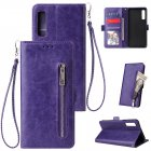 For Samsung A7 2018-A750 Solid Color PU Leather Zipper Wallet Double Buckle Protective Case with Stand & Lanyard purple