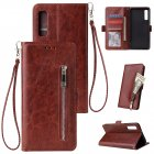 For Samsung A7 2018-A750 Solid Color PU Leather Zipper Wallet Double Buckle Protective Case with Stand & Lanyard brown