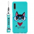 For Samsung A7 2018 Cartoon Lovely Coloured Painted Soft TPU Back Cover Non slip Shockproof Full Protective Case with Lanyard Light blue