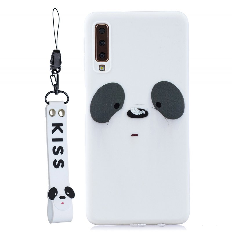 For Samsung A7 2018 Cartoon Lovely Coloured Painted Soft TPU Back Cover Non-slip Shockproof Full Protective Case with Lanyard white