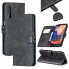 For Samsung A7 2018 Denim Pattern Solid Color Flip Wallet PU Leather Protective Phone Case with Buckle & Bracket black
