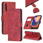 For Samsung A7 2018 Denim Pattern Solid Color Flip Wallet PU Leather Protective Phone Case with Buckle & Bracket red