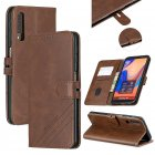 For Samsung A7 2018 Denim Pattern Solid Color Flip Wallet PU Leather Protective Phone Case with Buckle   Bracket brown
