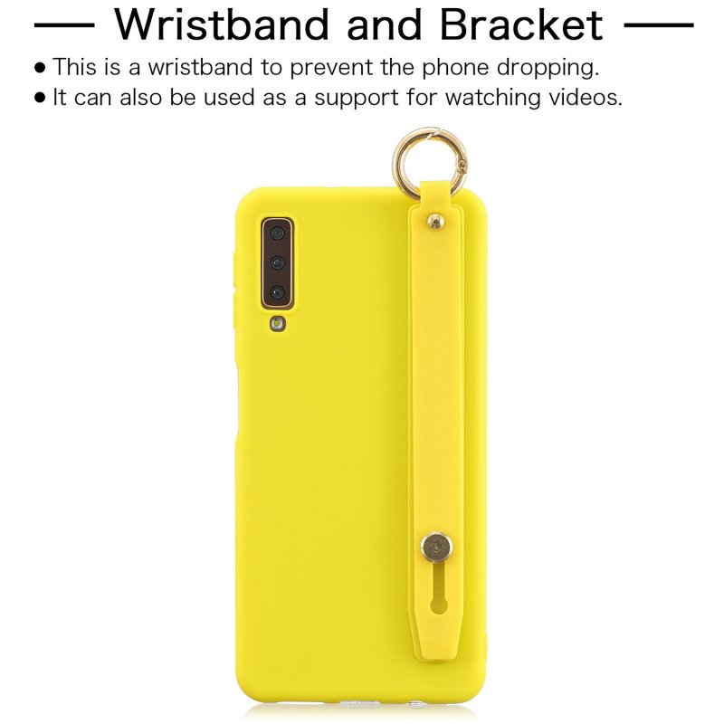 For Samsung A7 2018 Simple Solid Color Chic Wrist Rope Bracket Matte TPU Anti-scratch Non-slip Protective Cover Back Case 3 yellow