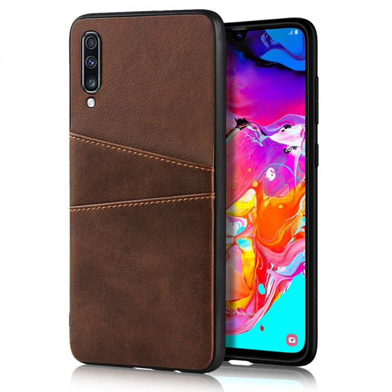 For Samsung A70 Cattlehide Grain PU Protective Case Back Cover with 2 Cards Pockets Dark brown