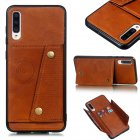 For Samsung A70 Double Buckle Non-slip Shockproof Cell Phone Case with Card Slot Bracket Light Brown