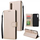 For Samsung A70 Wallet-type PU Leather Protective Phone Case with Buckle & 3 Card Position Gold