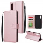 For Samsung A70 Wallet-type PU Leather Protective Phone Case with Buckle & 3 Card Position Rose gold